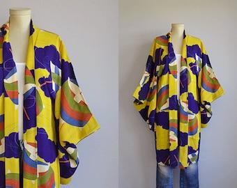 Vintage Silk Kimono / Graphic Print Hand Stitched Kimono Robe / Vintage Haori Made in Japan