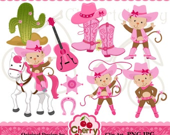 Cowgirl Monkey Digital Clipart Set for-Personal and Commercial Use- for Card Design, Scrapbooking, and Web Design