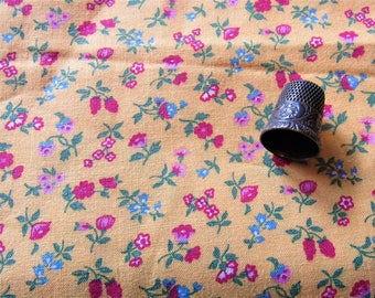pink, red and gold floral print vintage cotton fabric