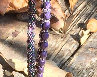 Purple Suede Peyote Bangle