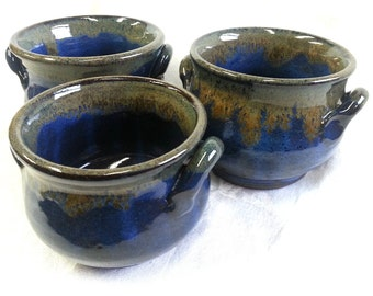 Set of Four Stoneware Pottery Soup Crocks - Dishwasher, microwave, & oven safe