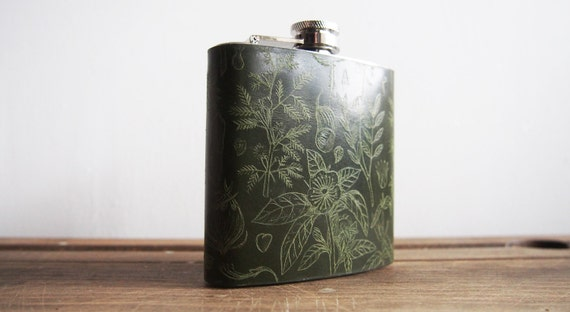 Botanist Leather Hip Flask, Plants and Flowers, Botany Illustration, Green Leather, Birthdays, Weddings, Christmas Gift