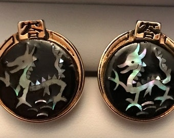 Incredible RARE Vintage Swank Hand-Inlaid Mother of Pearl Dragon Cuflinks