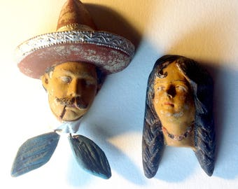 Vintage clay Mexico miniature faces heads man and woman couple