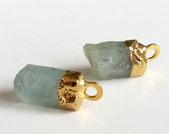 Gold Leaf Aquamarine Natural Crystal Pendants With Jump Ring ~ Set of Two (B)