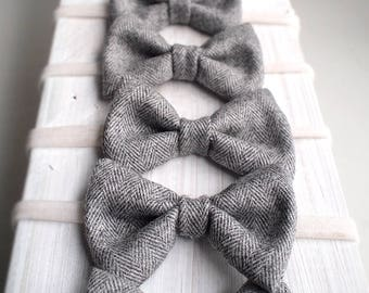 Gray Wool Bow Tie  - Newborn photography props