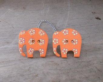 Sweater Pins, Elephant Sweater Pins, Elephant Collar Pins, Orange Elephant Pins, One of a Kind