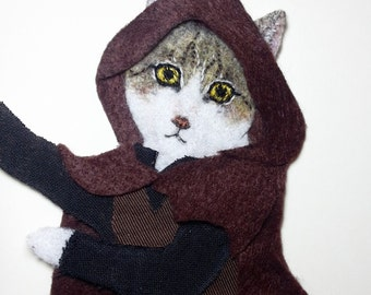 Personalized cat portrait - framed pet portrait / geeky pet / felt embroidered needlecraft / fiber art