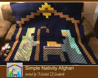 Nativity Pixel Afghan, C2C Graph, Crochet Pattern