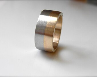 Wide Striped Gold, 9mm, Recycled 14k & 18k Gold, Sterling Silver, Stacking Wedding Ring, Alternative Gold Wedding Ring