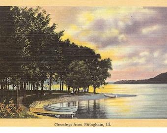 Vintage Linen Postcard...Illinois, Greetings from Effingham..Unused...no. 2162