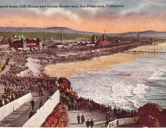 Vintage Postcard...California, San Francisco- Beach from Cliff House and Ocean Boulevard...Used, 1911...no. CA0032