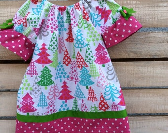 Christmas Dress, Girl Christmas Dress,  Pink Christmas Dress