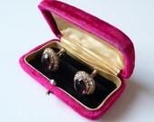 Antique Pink Velvet Earring Box Cufflink Box Vintage Jewelry Box Holder Display Rhinestone Button Brooch Box Earrings Display Cuff Link Box