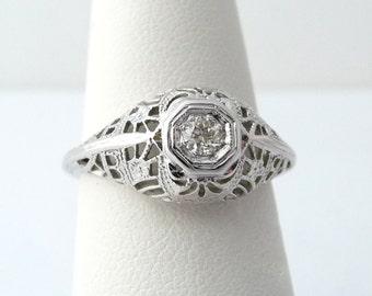 Art Deco Filigree 18k Diamond Ring Old European Diamond Antique Engagement Ring White Gold Ring Size 7 from TreasuresOfGrace