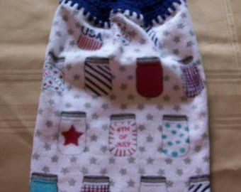 Fourth of July Hanging Dish Towel, Hanging Kitchen Towel,Football Hanging Towel, Crochet Top Towel, Housewarming Gift, Home Decor