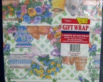 1 Week Sale 2 Sheets Vintage Garden Spring Wrapping Paper