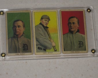 3 Card Lot 1909 t206 Ty Cobb Piedmont Back's in a screwdown case