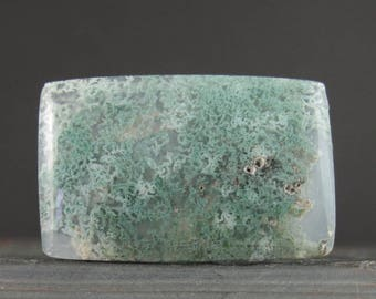 Rectangular green moss agate cabochon, Semiprecious tone, Jewelry making supplies S7804