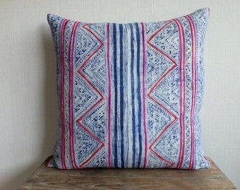 """20""""x20"""" Vintage Batik Hemp Pillow Cover- Decorative Cushion cover, Tradition Ethnic Hmong fabric, Pillows and cushions"""