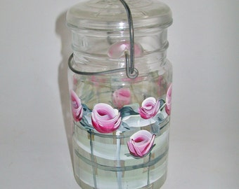 Vintage Glass Ball Jar Hand Painted Pink Roses Wire Clasp