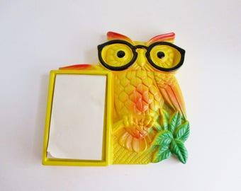 Vintage Owl Notepad Chalkware Kitschy Desk Phone Accessory 1970 Miller Studio Inc.