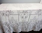 """Vintage Quaker Lace Tablecloth - Ivory #1006 Jubilee Pattern - 56"""" x 76"""""""