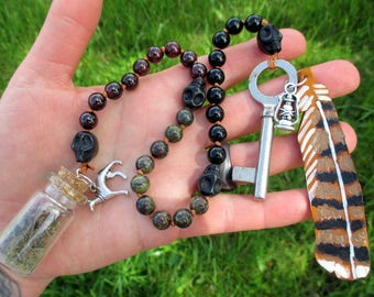 Hecate Pagan Prayer Beads with Charm Bottle - goddess of witchcraft and the crossroads