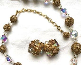 Gorgeous Vintage Crystal and Filigree 1930's Lisner signed Set