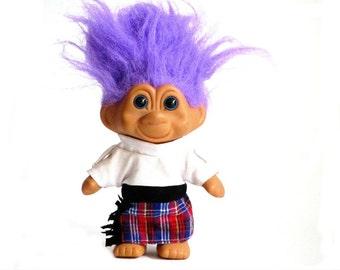 T.N.T. Troll Purple Hair Plaid Kilt World Trollers Scotland 1991 Collectible Doll
