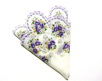 Scalloped Edge Purple Roses Buttercups and White Dianthus Hankie Lavender and Green Accents Gift for Her