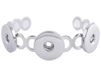 """1 Bangle Bracelet - 6.5-7"""" FITS 18MM Candy Snap Charm Jewelry Silver kc0686 CJ0722"""