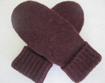 Men's mittens wool size med. - large burgundy fleece-lined  ready to ship