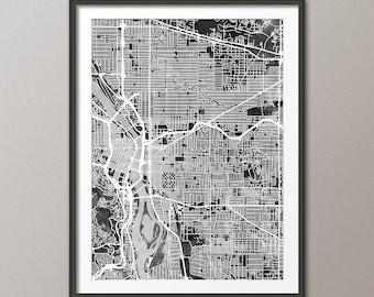 Portland Map, Portland Oregon City Map, Art Print (2739)