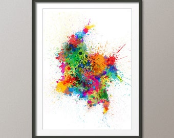 Colombia Paint Splashes Map, Map of Colombia Art Print (2761)