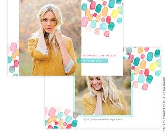 INSTANT DOWNLOAD - Graduation announcement - Photoshop Templates - E1487