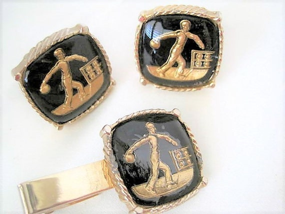 Bowling Cuff Link Set -  Black Lucite Bowler - Gold Intaglio - 50's Cuff Links.
