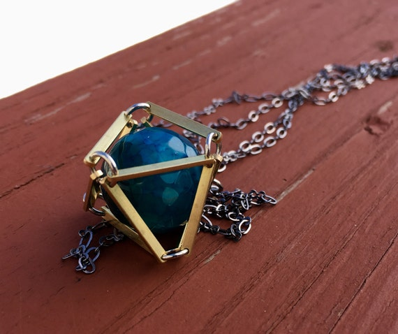 Blue Dragon Veins Caged In Brass Necklace
