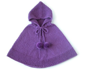 Little Boy Alpaca Knit Sweater, Baby Girl Violet Poncho, Toddler Boy Winter Clothes, Made To Order