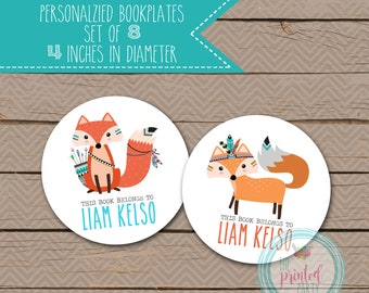 Personalized Bookplates - School Bookplates - Book Plate - Nameplate - name plate - AZTEC - TRIBAL - FOX - 009
