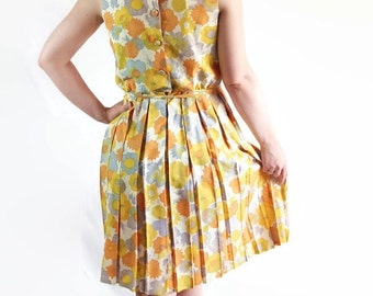 On Sale 60s Dress Mad Men Flower Power Mod Floral Print Yellow