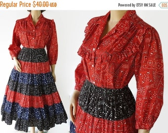 On Sale Rockabilly Dress, Carefree Fashions Skirt, Blouse, Bandana Print, Patio Squaw Dress