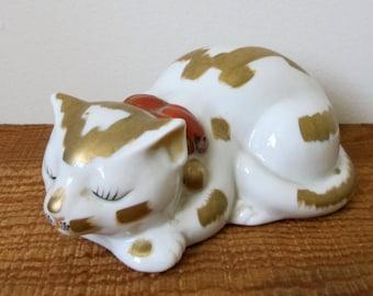 Vintage Kutani Sleeping Cat White Porcelain Gold Paint