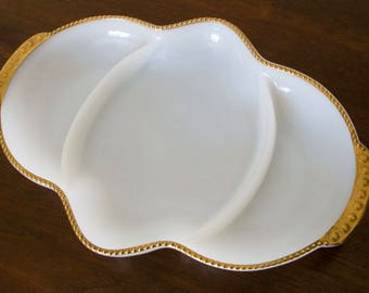 Vintage Milk Glass Dish - Fire King Ovenware with Gold Trim