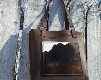 Sale! Full Leather Tote Bag/Hair on Leather Tote Bag with Pockets