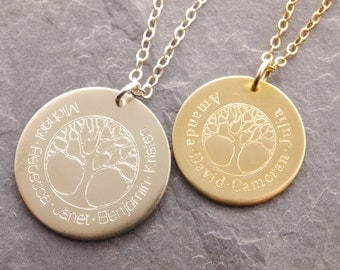 Family Necklace, tree of life, family tree necklace, gifts for mom, name necklace, grandmother, kids names, personalized jewelry, N13