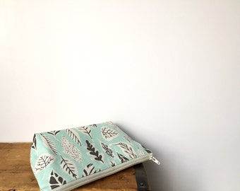 Sky Blue and Gray leaves Zipper Pouch, Blue Cosmetic bag, Cute Toiletry Bag, Kawaii Pencil Case, Makeup Case