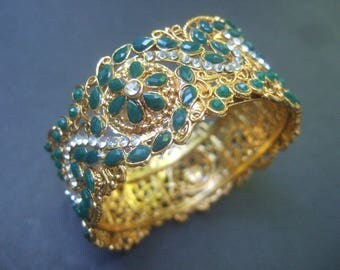 Exotic Jeweled Gilt Metal Ornate Cuff Bracelet