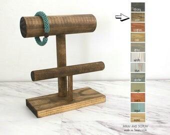 Wood Bracelet Display 2-Tier, Bracelet Stand, Wood Jewelry Display, Bracelet Holder, Retail Fixtures, Craft Show Displays