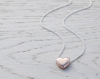Rose Gold Heart Necklace - Sterling Silver